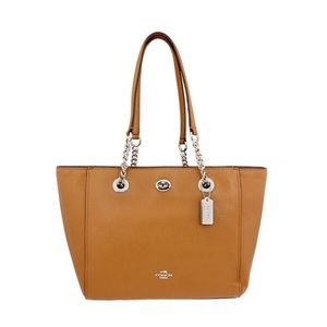 Coach 57107 Turnlock Chain Tote 27 - Light Saddle
